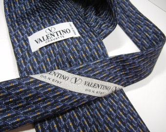 Valentino mens tie / Designer necktie / blue stripes with yellow accents / Valentino Cravatte / pure silk / made in Italy / wedding / Groom