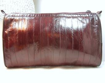 Eelskin purse / burgandy eel skin / clutch / Handbag / wine / Leather purse / birthday gift / retro 1970s / shiny / Marsala