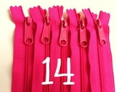 14 inch YKK zippers with long pull, five pcs, hot pink handbag zips, 4.5 mm nylon coil, YKK color 516, great for purses, gadget cases