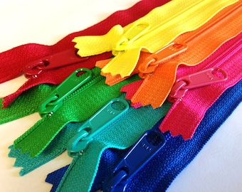 Handbag zippers with long pull, 12 inch coil, Seven pcs, 4.5mm zippers, bright colors sampler, blue, turquoise, green, pink, orange, yellow