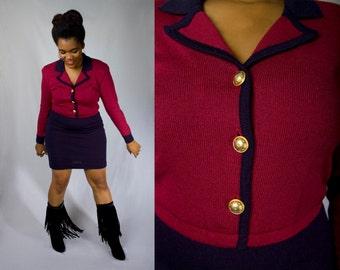 Vintage 80s LIZ CLAIBORNE Oxblood Wine and Navy Bodycon Pencil Secretary Wiggle Day Party Sweater Dress (sz M L 8 10 12)