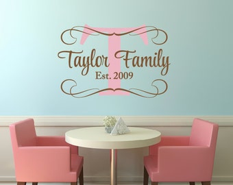 Family Monogram Decal - Personalized Family Sign - Custom Wedding Decal