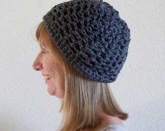 Women's Crochet Summer Hat in Charcoal with Free US Shipping