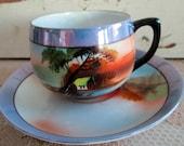 Vintage Teacup And saucer Hand Painted House Village Scene Japanese Chikaramachi