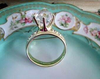 Vintage Giant Diamond Ring Brooch BIG BLING