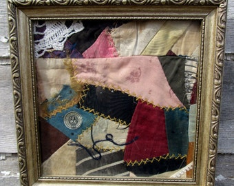 Framed  Silk Quilt Picture With thread and label Novelty sewing Picture