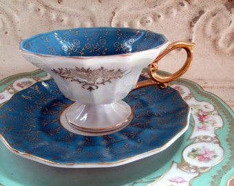 Vintage Teacup Tea Cup and Saucer Turquoise Blue and gold gilt flowers Luster Pearl Pedestal