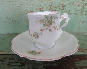 Vintage Teacup Tea Cup and Saucer demitasse shabby pink roses