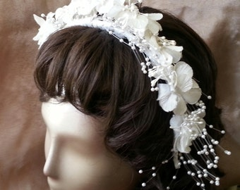 White floral bridal hair comb headband