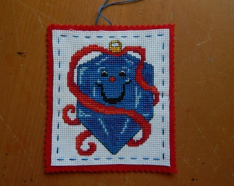 Cross Stitch Blue Christmas Ornament