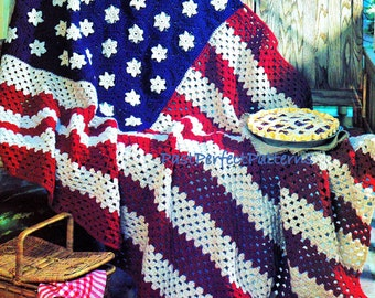 Stars and Stripes Afghan  Vintage Crochet Pattern   Throw American Flag  Independence Day INSTANT DOWNLOAD PDF