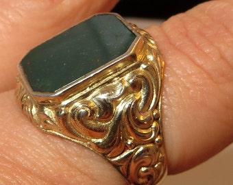 Olivine Green Stone 830 Silver Scandinavian Ring Gold over Silver Size 9