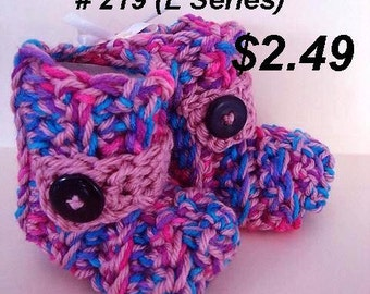 Baby Booties Crochet Pattern, Easy beginner level, Newborn to 2 years, #219, Unisex style for boys or girls