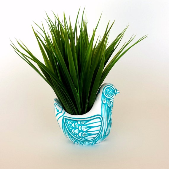 Ceramic Bird Planter Painted Folk Art Vase Turquoise Blue White Home Decor Painted Tattoo Aqua Modern - MADE TO ORDER