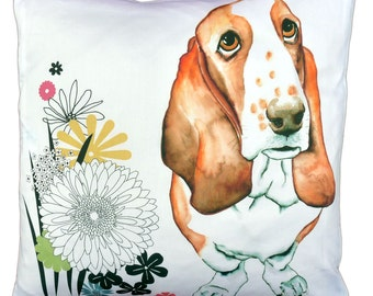 Basset Hound dog cushion pillow cover