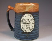 Wheel Thrown Rocky Mountain National Park Moraine Park Mug in Croc Blue and Shino (tan brown) Glazes
