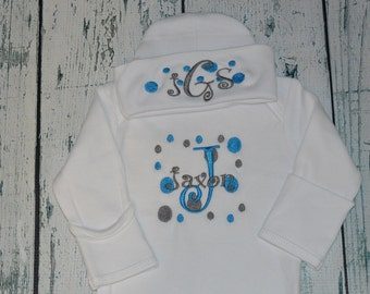 Personalized Newborn Gown and Cap set Monogrammed Custom Comming Home Outfit