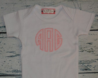 Monogrammed Baby Girl, Circle Applique bodysuit or Girls Shirt, Personalized Girls Shirt