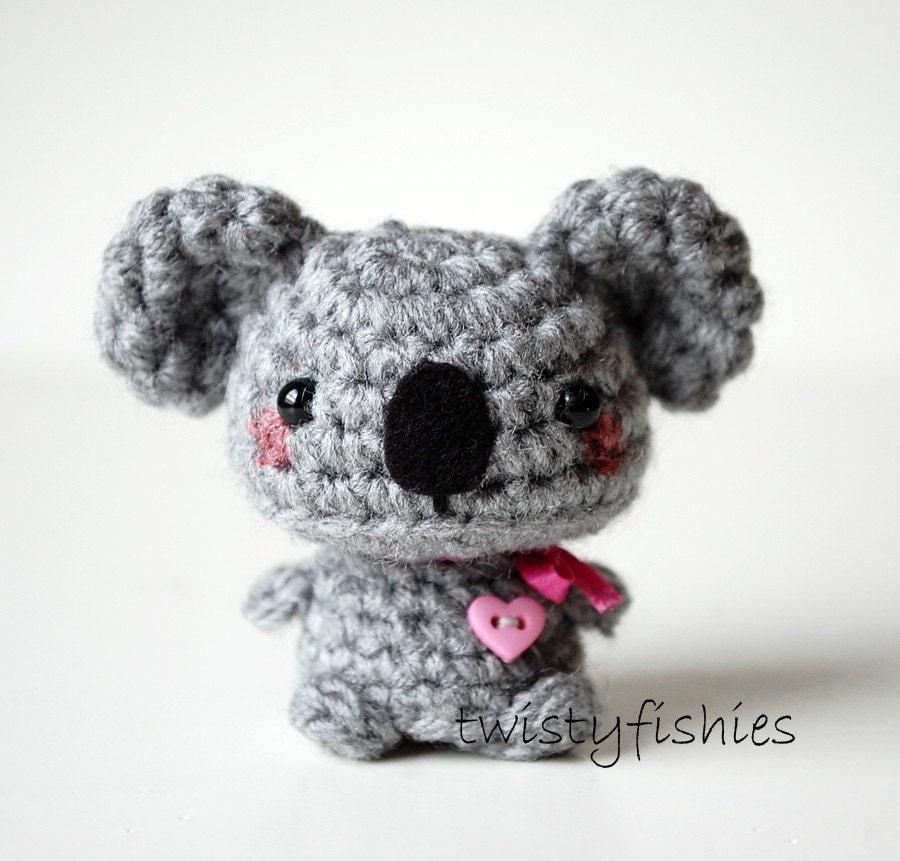 Koala Amigurumi Nose : Baby Gray Koala Kawaii Mini Amigurumi Plush Pink Bow