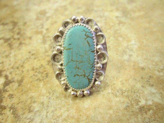 western sterling silver turquoise ring size 9 free
