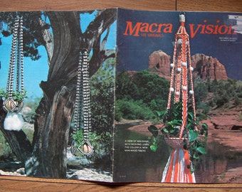 Vintage 70s macrame pattern book MACRA VISION plant hangers, rug, wall hanging, table