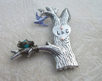 Love Carvings Pin - A Keepsake Of Your Love Story In Silver & Brass - Tree Trunk - Birdnest - Silver Bird Charm