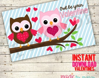 INSTANT DOWNLOAD DIY Owl be your Valentine 3x5 Printable