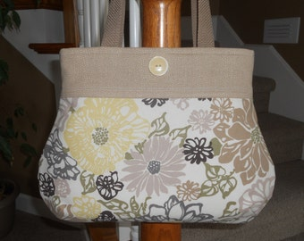 "Handmade Purse...The ""Heather""...in Neutral ""Bibi Fiesta"""