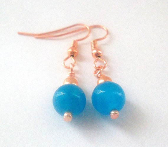 Blue Malaysia Jade Earrings in Copper