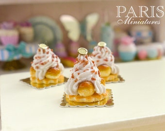 Caramel St Honoré French Pastries - 12th Scale Miniature Food