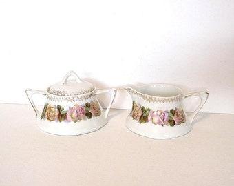 Vintage Set Roses Creamer & Sugar Bowl Z S Co Germany Bavaria Porcelain