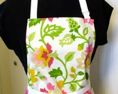 Pink Green Floral Womens Apron Full Apron Chefs Apron Adjustable Apron Hot Pink Tan Mustard White Handmade MTO
