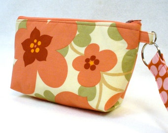 SALE! Retired Amy Butler Fabric Wristlet Clutch Purse Zipper Pouch Cosmetic Bag Key Fob Morning Glory Coral Pink Handmade