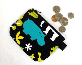 Boy or Girl Mini Coin Purse Zoo Animals Michael Miller Zoology Fabric Zipper Change Purse Hippo Black White Teal Handmade