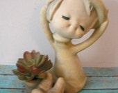 Vintage stylized girl air plant planter small cactus  girl windowsill 1960s UTCI Japan Floppy hat Sandy
