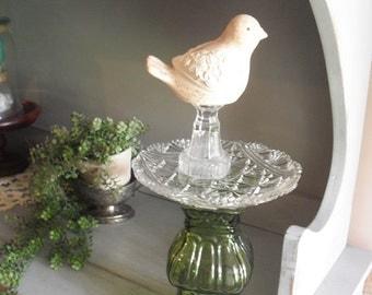 Upcycled Bird Bath ~ Bird Feeder ~ Pedestal Dish ~ Emerald Crystal Gorgeous One Of A Kind Wedding centerpiece