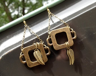 brass wings TWO-WAY upcycled earrings - 494