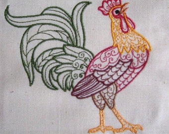 Machine Embroidery Design- Rooster Colorline #01 with 4 sizes Included!
