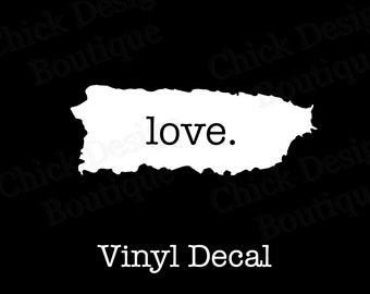 Puerto Rico Love Silhouette Vinyl Decal