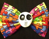 Large puzzle pieces autism awareness skull fabric bow
