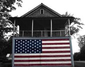 American Flag Photograph, Patriotic Home Decor, Primitive Rustic Wall Art, Black and White, Small Town USA, Old Building, fine art
