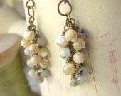 Boho Cluster Earrings Amazonite Gemstone Shell Beaded  - Pistachio Creme