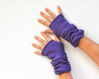 Purple Fingerless Gloves Wrist Warmers Mittens Warm Cozy Women Gloves Women Accessories