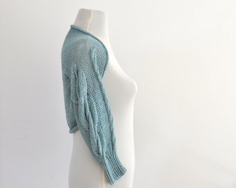 Blue Luxury Shrug Bolero Bridal Shrug Linen Viscose Blend Bridal Accessories Elegant Wedding