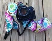 Monogramming Included Extra Long Camera Strap for DSL camera Navy,Pink and Turquoise Paisley