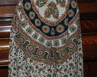 "Hippie Pants - Green Tan circle #394 - 39"" long - Hips 48"" - read measurements"
