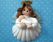 Scallop Shell Mom to be Ornament Baby's First Christmas Newborn Ornament Baby Shower Baptism Gift