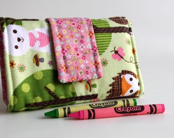 Crayon Wallet - Pink Forest Friends  Edition - A Montessori and Waldorf Inspired Travel Toy for  Self Guided Art