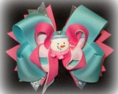 Frosty the Snowman Christmas Boutique Hair Bow Pink and Aqua 3 layer Hairbow Baby Girls Toddler Snowy Snow Man Holiday
