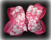 Awareness Ribbon Chevron Pink Sparkle Glitter Double Layered Boutique Lush Hair Bow Spikey Edges 2 sizes Available Little Girl